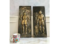 2 x Knight Brass Metal Embossed Plaques Wall Hanging Medieval Art 53cm in Height