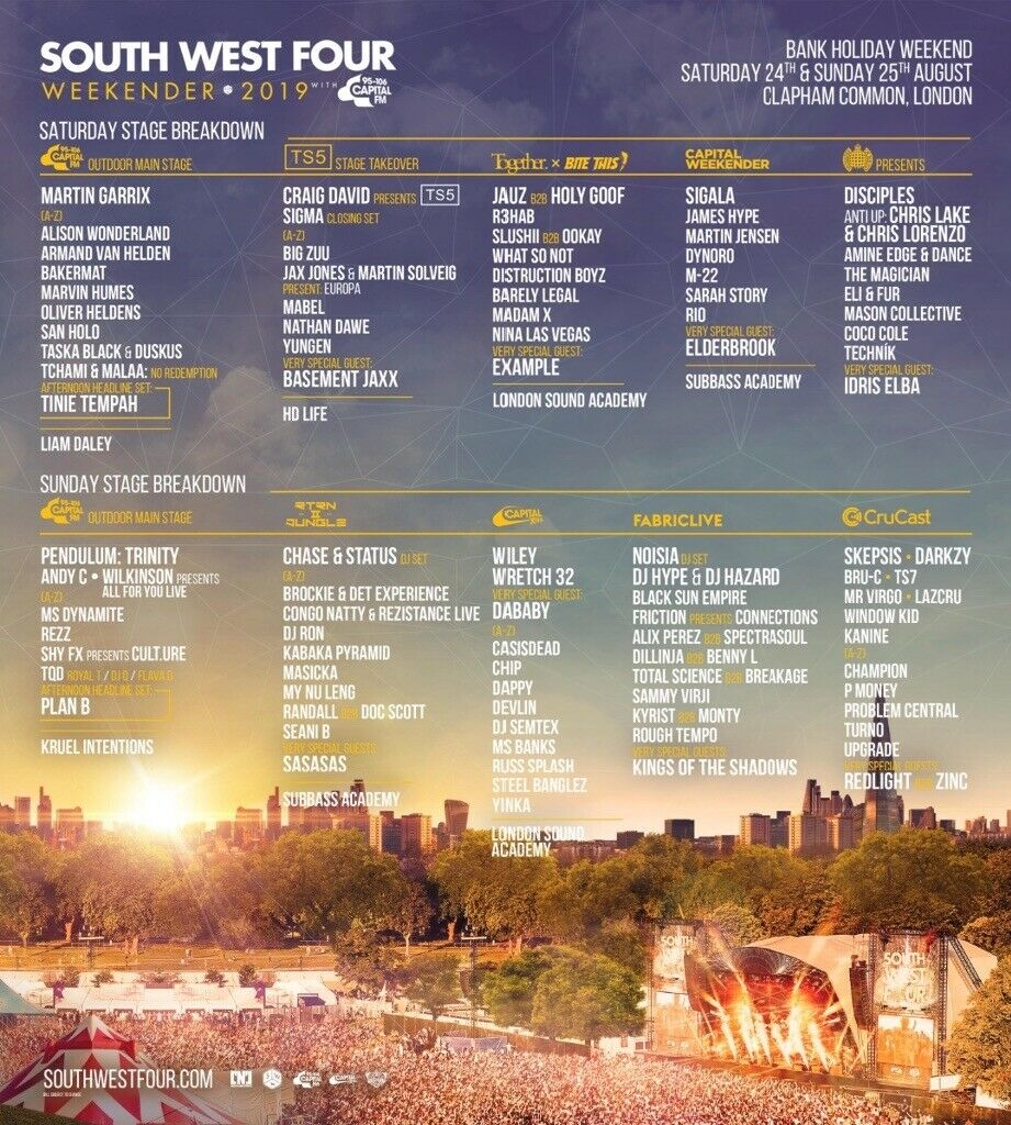 2 x Sunday Tickets for South West Four (SW4) | in Lambeth, London | Gumtree