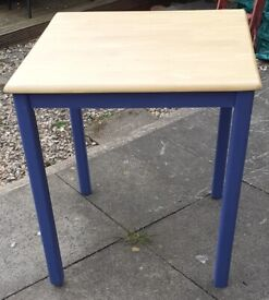 SOLID WOODEN TABLE PAINTED with INK BLUE CHALK PAINT