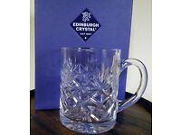 New EDINBURGH CUT GLASS Pint Tankard.