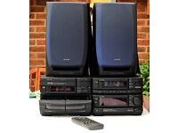 Awai NSX-D858 stereo radio, twin cassette, 3 CD player, amplifier and 2 speakers