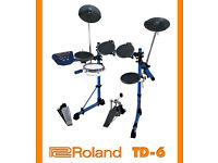ROLAND V-Drums electronic TD-6 mesh snare kit + pedal etc - VEX upgraded - NICE