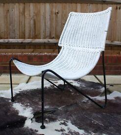 Mid Century Frederick Weinberg Rattan Lounge Chair Retro Vintage Danish G Plan 50s 60s 70s