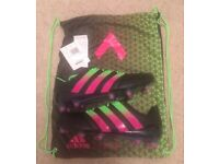 Men's Black ADIDAS ACE 16.1 FG/AG Leather Football Boots (UK 6) + Boot Bag NEW