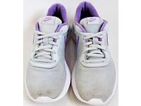 Women's / Girl's Size 5 Metallic Grey / Silver & Purple Running Trainers By Nike