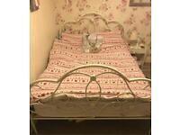 Cream Metal Bedframe with Floral Detailing
