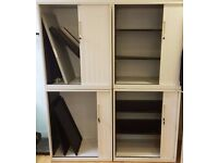 4 x WHITE TAMBOUR SLIDING DOOR STORAGE CABINET WITH ADJUSTABLE SHELVES & KEYS ALL OFFERS CONSIDERED