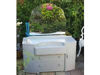 Large Grey Dressing Table - Light Grey - Large Mirror - Storage Chest of Drawers - Tile Print