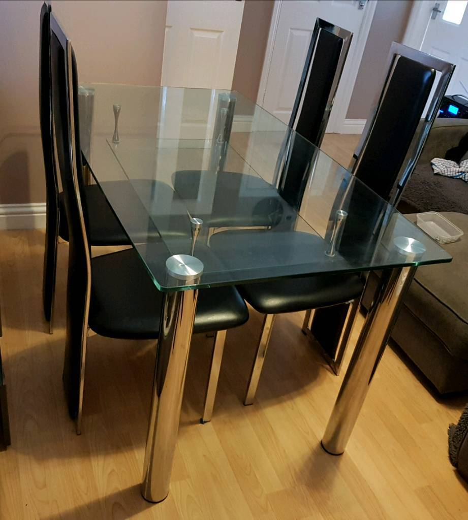 Glass Dining Table 4 Chairs Need Gone Will Sell Seperate