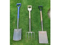 2 Garden Spades, 1 Garden Fork