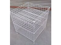 LARGE WHITE WIRE SQUARE DUMP BINS SHOP DISPLAY BASKETS