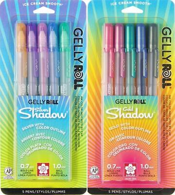 Gold Colored Pen (Sakura Gelly Roll Silver & Gold Shadow Pen Set - Outlining Gel Ink - 10 Colors )