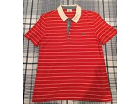 Lacoste Orange & White Striped Polo Top - Size 4 - £10