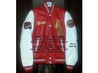 genuine aviatrix college real leather jacket coat vgc