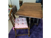 Oak/beech Victorian drop leaf table and chair