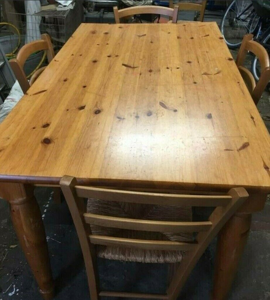 Large Pine Dining Table And 5 Chairs L5 W3 D2 6 Quot 152