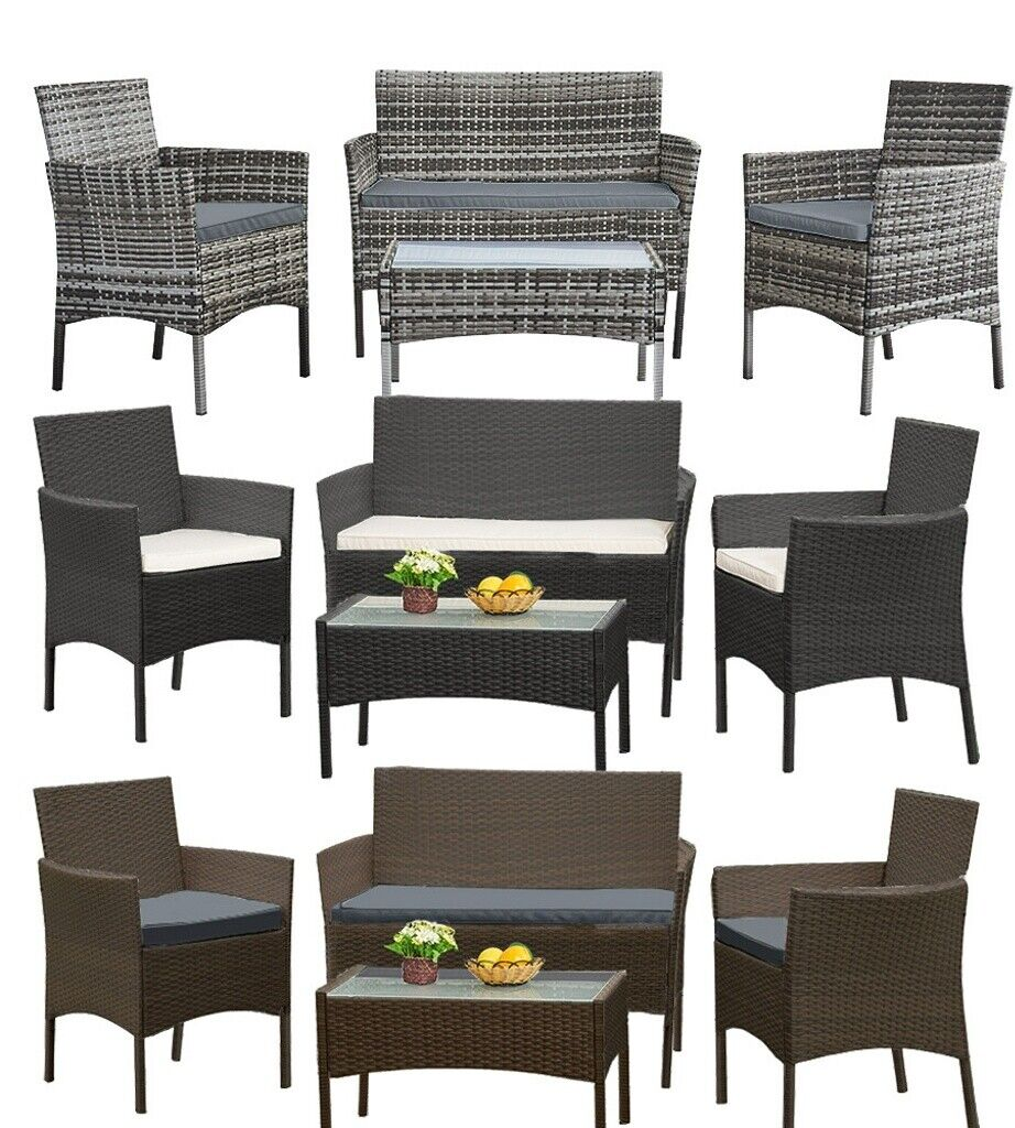 Garden Furniture - Garden 4 Piece Patio Rattan Wicker Furniture Set  Table Sofa Beige/Grey Cushion