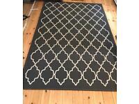 Dark grey pattern rug