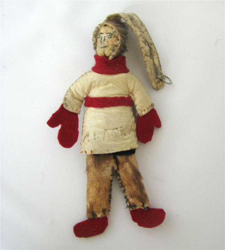 Vintage Inuit Eskimo Ornament Doll Toy Figure Fur Leather Alaska Hand Crafted