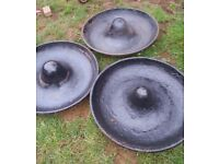 3 Cast Metal Mexican Hat Pig Sheep Goat Feeders Planters Fire pit Bird bath
