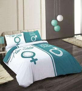 TRENDY NEW TEAL Amp WHITE HIS AND HERS SIDE DUVET COVER BED