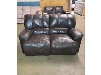 BROWN LEATHER 2 SEATER RECLINER SOFA - £75 IN GOOD used condition