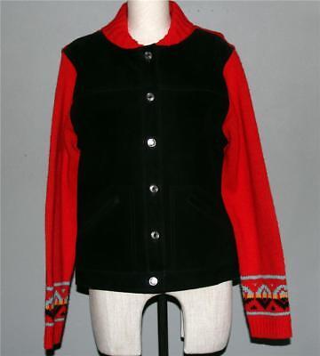 PENDLETON Southwest Black Suede Leather Sweater Kn