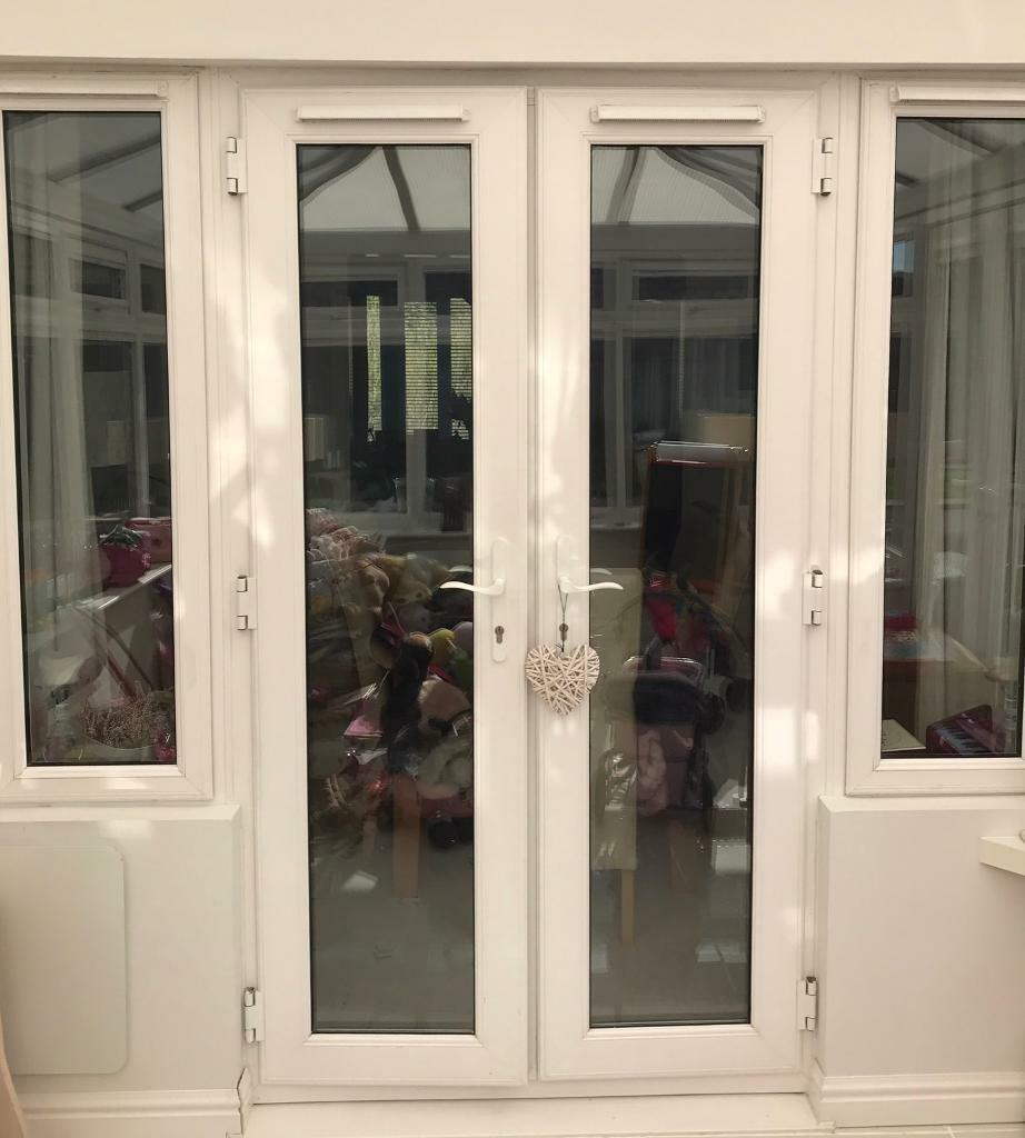 Upvc Double Glazed White Patio Doors With Side Windows In
