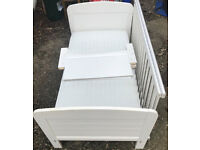 White Wooden Cot-bed with Mothercare Pocket Sprung Coolmax Mattress.