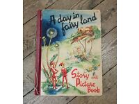 Vintage A Day in Fairy Land Oversized Picture Story Book Children's