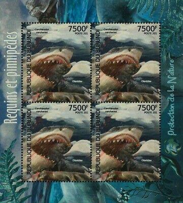 Sea & Marine Life: Great White Shark & Seal Stamp Sheet #1 (2012 Burundi)