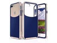 NEW! iPhone 7 Plus Case, Wave Texture[Hybrid Clear Back Panel][CornerGuard Drop Proof]-Navy Blue/Gol