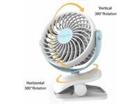 Clip on Fan, AngLink Mini Desk Fan Portable Rechargeable Battery Operated ,white color