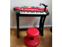 Chad Valley Keyboard, Stand And Stool – Red