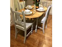Farmhouse / Country Dining table & chairs Upholstered In Laura Ashley fabric & Little Greene Paint