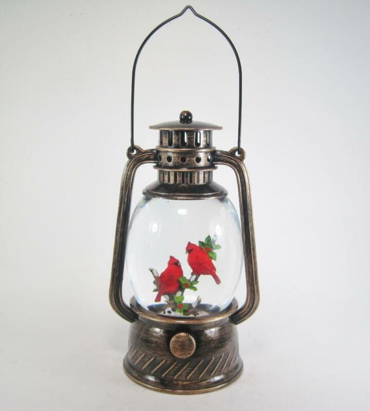 Lighted Holiday Cardinals in Winter Scene Lantern Swirling Water Snow Globe