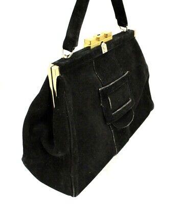 1940s Handbags and Purses History Vintage Black Suede Purse Finland Laukku Unique Brass Closure Handbag 1940s  $89.00 AT vintagedancer.com