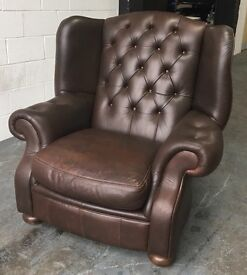 GIANT Brown leather Chesterfield Wingback chair WE DELIVER UK WIDE