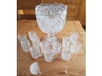Tyrone Crystal Punch Bowl with Ladel & 12 Punch Glasses