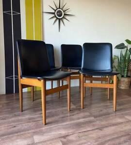 Stunning Set of 4 Mid Century Parker Retro Vintage Teak Dining Chairs