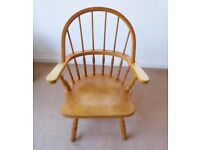 Wooden Bow-Backed Chair with high back and arms