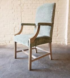 Free vintage retro shabby chic GREEEN UPHOLSTERED ARMCHAIR dining chairs set of 6
