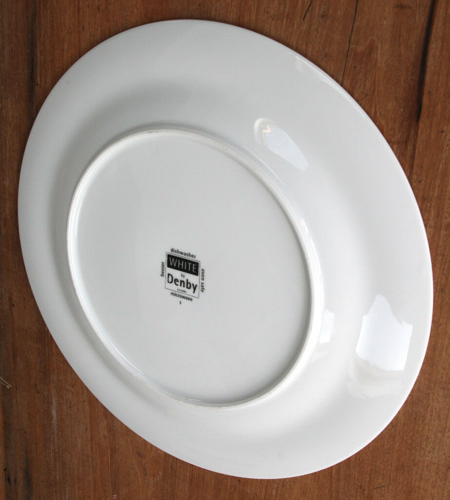 ONE DENBY WHITE LARGE GOURMET DINNER PLATES 12.5  TWELVE IN TOTAL & ONE DENBY WHITE LARGE GOURMET DINNER PLATES 12.5