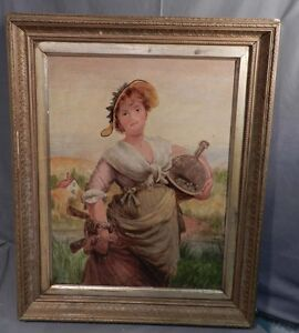 W-Haddon-English-Victorian-Portrait-Painting-Milk-Maid-1874-Eastlake-Gilt-Frame