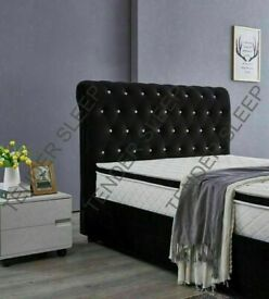 🔵💖🔴PLUSH VELVET SLEIGH GAS LIFT🔵💖🔴DOUBLE KING SIZE BED FRAME STORAGE & MATTRESSES