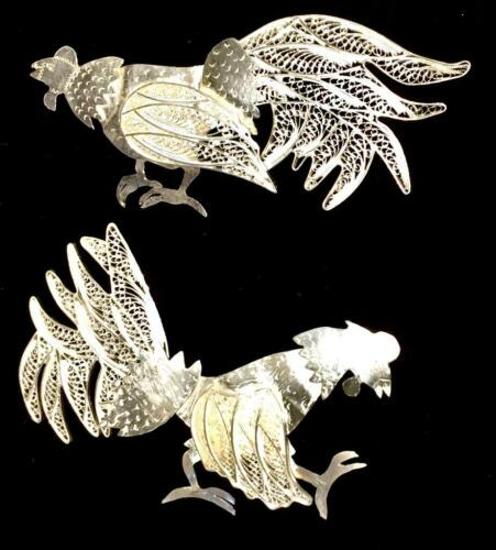 New Authentic Silver Filigree Handmade Vintage Shape Roosts From Catacaos, Peru