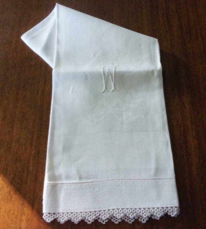 "Beautiful Antique Irish Linen Damask Bath Towel Monogram ""W"" Tatted Edges Mint!"