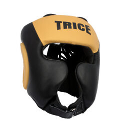 Hide Leather Boxing MMA Headgear UFC Head Guard Sparring Helmet Fighting Protector one size fits all