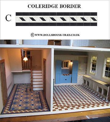 DOLLHOUSE MINIATURES,DOLLHOUSE  FLOORING,MINIATURE TILES, COLERIDGE ( C ) BORDER