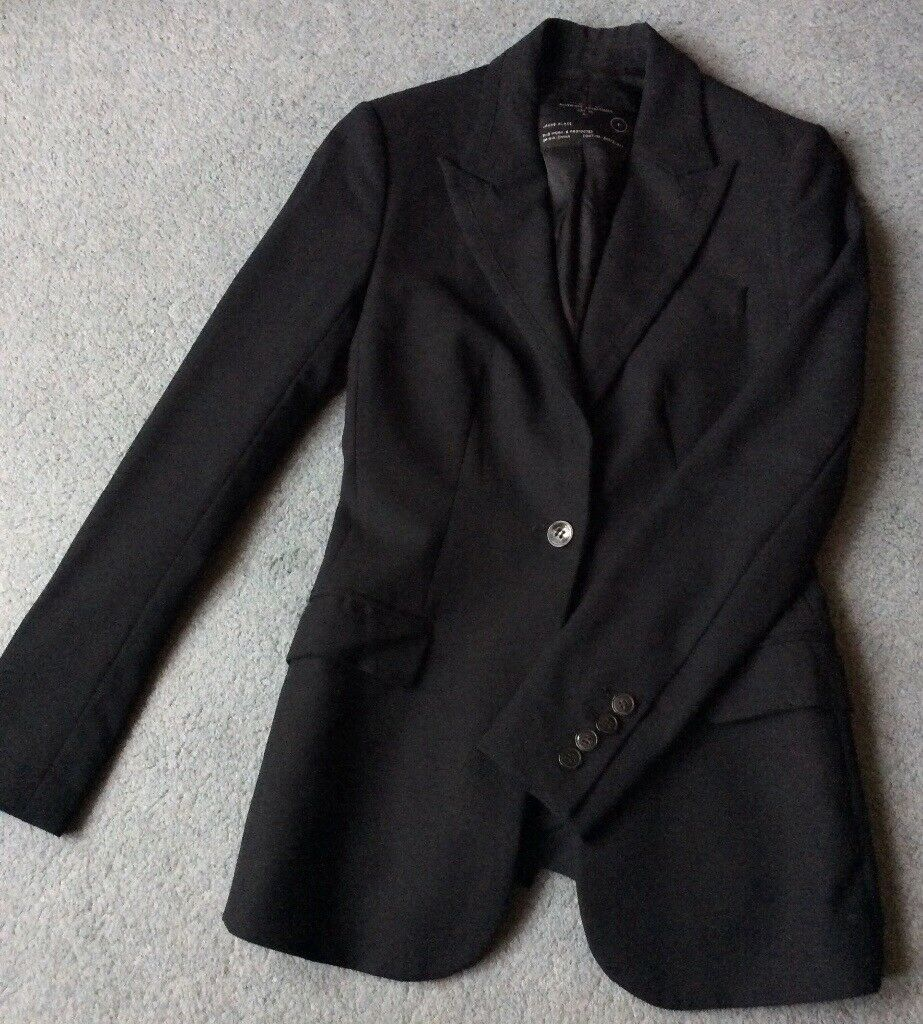 Classic Black ALL SAINTS Jacket Blazer 100% Wool Women Size 8 *ADERSI*